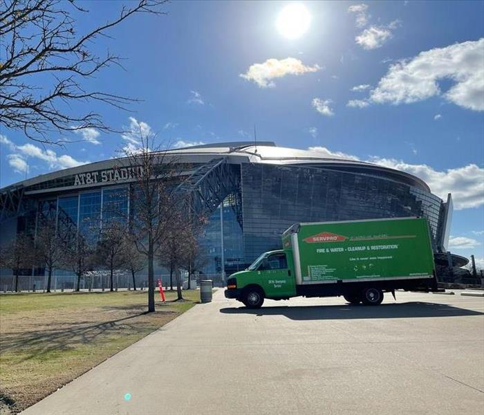 SERVPRO box truck parked in front of AT&T Stadium in Texas