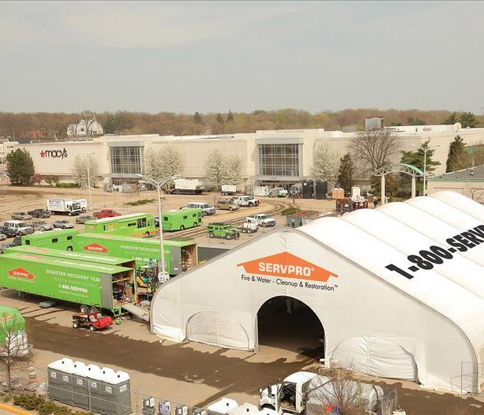 servpro tent and semi trucks