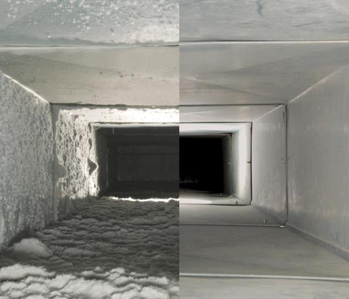 Air duct before and after cleaning