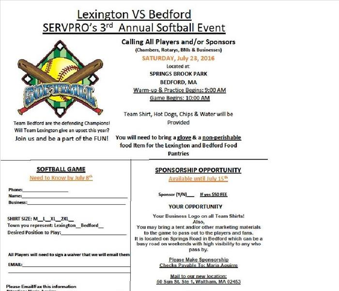 General SERVPRO® of Lexington-Bedford will be hosting a Lexington vs. Bedford softball game on Saturday, July 23, 2016
